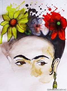 Frida Khalo, this picture might be a wonderful tattoo Frida E Diego, Frida Art, Diego Rivera, Mexican Art, Art And Illustration, Watercolor Art, Folk Art, Art Photography, Street Art