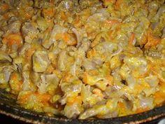 желудки с овощами в мультиварке Куриные желудки в мультиварке