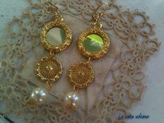 Orecchini  Collezione Cavalleria Rusticana fatti a mano  in ottone e perla