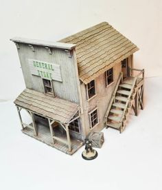 Old General Stores, Old Country Stores, Forte Apache, Old Western Towns, Westerns, Two Story Windows, Building Structure, Bird Houses, Putz Houses
