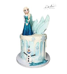 Frozen 2 birthday cake with Elsa and Olaf decorations. Click the link below to learn more information on ordering your celebration cake. Frozen Birthday Cake, Frozen Party, 2nd Birthday, Disney Themed Cakes, Cakes Today, Celebration Cakes, Disney Inspired, Custom Cakes, Olaf