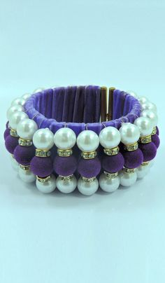 #Bangles & #Bracelets - Pearl & Bead Work Bangle Costs Rs. 660. #Jewellery. BUY it here: http://www.artisangilt.com/imitation-jewellery-fashion-jewelry/bangles-bracelets/pearl-bead-work-bangle-86053.html?ref=pin