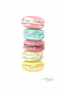 Watercolour Macaroon Print