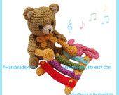Kuma Kun Bear playing the Xylophone Amigurumi PDF Crochet Pattern by HandmadeKitty