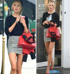 Adoro as combinações criativas com listras!⭐ Esta, da #kimberleygarner, é uma delas! Preto, branco e vermelho são cores que funcionam bem juntas. #creative #fashion #style #stripes