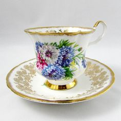 Windsor Tea Cup and Saucer with Blue Flowers, Vintage English Bone China