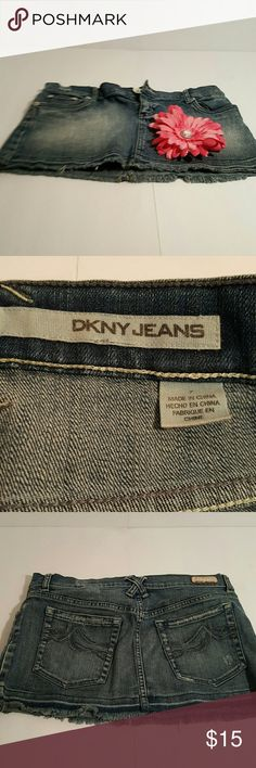 DKNY denim mini skirt Denim mini skirt, finge bottom, excellent condition DKNY Skirts Mini
