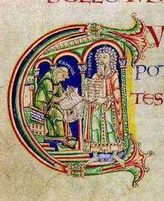 L'autore Giuseppe è in piedi mentre tiene un manoscritto che viene copiato del suo scrivano Samuele. Lo scriba è qui rappresentato come un monaco in un chiostro romanico che scrive su un libro aperto. Canterbury, 1130 c.