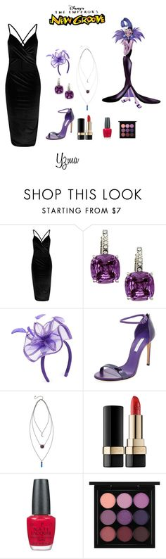 """Yzma"" by adisneygirlme ❤ liked on Polyvore featuring City Style, August Hat, Casadei, Dolce&Gabbana, OPI, MAC Cosmetics, Disney, formal, blackdress and disneybound"