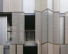 Deployé folding-sliding shutters on southwest facade Habitat Collectif, Expanded Metal, Solar Shades, Farmhouse Windows, Arched Windows, Building Facade, Facade Design, Facade Architecture, Shutters