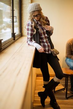 Lily ✿ ✿ Flannel, simple skinnt jeans, long boots with white leg warmers, and a long cardigan vest~ so cute for fall