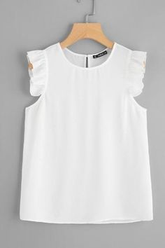 Shop Frilled Armhole Button Closure Back Shell Top online. SheIn offers Frilled Armhole Button Closure Back Shell Top & more to fit your fashionable needs. Blouse Styles, Blouse Designs, Fashion 101, Fashion Outfits, Baby Dress Design, Spring Blouses, Plain Tops, Shell Tops, Dress Patterns