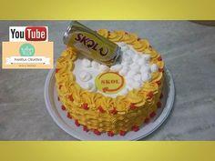 Bolo Skol com latinha/Bolo cerveja/decorando bolo simples com chantilly. - YouTube