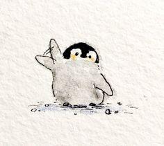 Cute Animal Drawings, Cute Drawings, Penguin Art, Penguin Drawing, Penguin Tattoo, Arte Fashion, Cute Penguins, Cute Doodles, Art Drawings Sketches