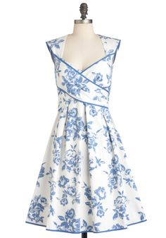 Wrapped in Joy Dress - Blue, White, Floral, Cutout, Pleats, Party, Sleeveless, Summer, Mid-length, A-line, Pinup