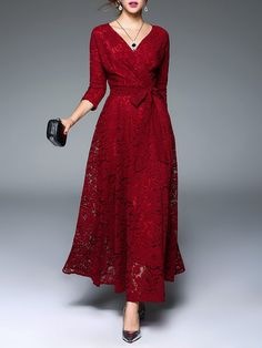 Elegant Crocheted A-line 3/4 Sleeve V Neck Lace Maxi Dress