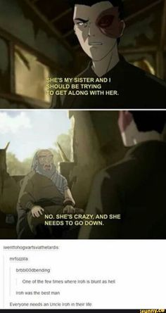 When Iroh needs to make sure that Zuko understands that Azula needs to be defeated. When Iroh needs to make sure that Zuko understands that Azula needs to be defeated. Avatar Aang, Avatar Airbender, Avatar The Last Airbender Funny, The Last Avatar, Avatar Funny, Team Avatar, Zuko And Katara, Memes Humor, Atla Memes