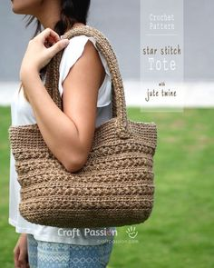 Crochet pattern of star stitch tote by using jute twine. Picture tutorial and video link available to make the instruction easy to understand & to follow.