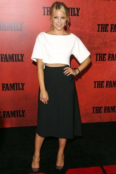Dianna Agron in an Osman top and skirt with Christian Louboutin heels and Fred Leighton jewellery.