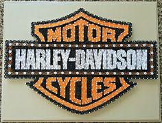 "16"" x 20"" Harley Davidson Motor Cycles string art"