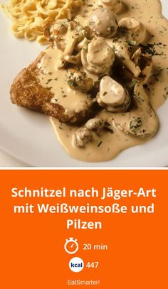 Hunter style schnitzel with white wine sauce and mushroom - Hunter-style schnitzel with white wine sauce and mushrooms – smarter – time: 20 min. Sauce Recipes, Pork Recipes, Cooking Recipes, Healthy Recipes, Jaeger Schnitzel, Schnitzel Recipes, Pork Schnitzel Sauce, Veggie Juice, Pork Cutlets