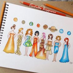 Solar System Princess'! Who's your FAVE?! By: @tottadraws _ Follow us for more!