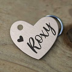 Amazon.com : Stainless Steel Pet ID Tags, Personalized Dog Tag and Cat Tag, Gold, Rose Gold, and Silver, up to 5 Lines of Custom Text, Engraved on Both Sides, in Round, Bone, Diamond, and More (Heart) : Pet Supplies Cat Tags, Pet Id Tags, Dog Collar Bandana, Dog Collar With Name, Personalized Dog Tags, Girl And Dog, Pet Names, Pattern Names, Pet Collars