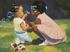 20.)This piece of art, by Dane Tilghman,was attracting to me. It makes  me feel like a little kid when me and my cousins used to play with bubbles and run around in my grandmother's yard.  african american art - Google Search