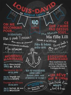 Affiche personnalisée anniversaire pour adulte Haute mer (rouge) | 35,00$ #chalkboard #lacraieco Cake Games, 40th Birthday Parties, Pirate Theme, Fiesta Party, Husband Birthday, Woodland Party, Holiday Cocktails, Holidays And Events, Chalkboard