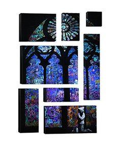 Banksy Stained Glass Window II 8-Piece Giclée On Canvas