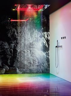 Stainless steel overhead shower with aromatherapy and chromotherapy SENSORY SKY by Dornbracht Sieger Design Rain Shower Bathroom, Led Shower Head, Bathroom Spa, Walk In Shower, Shower Heads, Bathroom Ideas, Bathtub Ideas, Bathroom Designs, Spas
