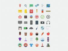 Flat Icons / Flat Design / Icons Design / Icons / Pictograms / Signs / 48 Free Flat Icons by Pixel Fabric. #freebie #icons