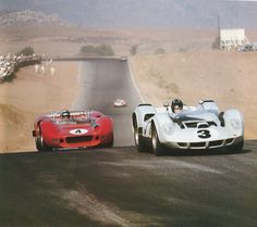 Can-Am 1965. Riverside. Bruce McLaren is about to pass Graham Hill .
