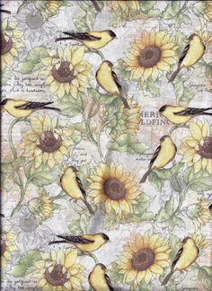 Goldfinch Birds Sunflower Yellow Green Curtain by CurtainsbyCindy Green Curtains, Valance Curtains, Goldfinch, Bathroom Curtains, Picture Show, This Is Us, Vintage World Maps, At Least, Birds