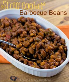 Slow Cooker Barbecue Beans. Let the slow cooker do all the work for you. This side dish recipe is perfect for potlucks and game-day. www.lorisculinarycreations.com