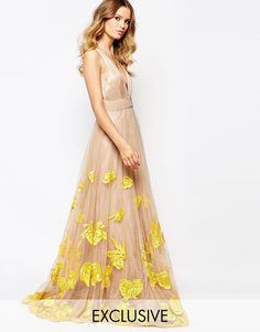 Image 1 ofA Star Is Born Luxe Plunge Front Full Tulle Prom Maxi Dress With Embellishment