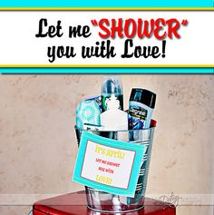 April Showers!! Surprise your spouse with a basket of their favorite shower goodies. Includes a FREE printable. www.TheDatingDivas.com #FREE #printable #giftforhim
