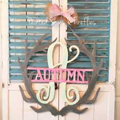 Hospital Birth Announcement Door Hanger / Fawn / Nursery / Decor / Deer / Baby Shower / Animal / Antlers / Floral / Feathers / Girl