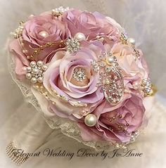 Elegant 10 Silk Flower Jeweled Wedding Bouquet in shades of Pinks, accented by G. Wedding Brooch Bouquets, Rose Wedding Bouquet, Bridesmaid Bouquet, Wedding Flowers, Broach Bouquet, Flowers Roses Bouquet, Silk Flowers, Exotic Flowers, Flowers Garden