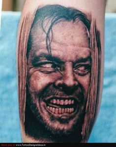 Jack Nicholson Heeeere's Johnny Shining Portrait Tattoo ~ fucking amazing!!!!