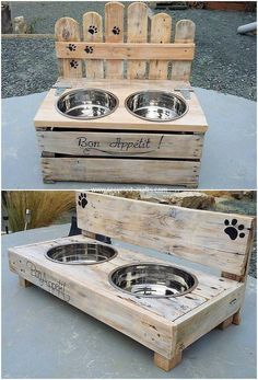 This is a beautiful piece of the pallet dog bowl design! Being shaped into rectangular designing, the center portion of the stand box has been stylishly arranged with the steel working that is much simple and easy put together in the crafting. Wooden Pallet Projects, Diy Pallet Furniture, Pallet Couch, Furniture Ideas, Woodworking Furniture, Pallet Dog House, Pallet Dog Beds, Rustic Furniture, Furniture Movers