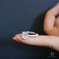 CHELSEA, an engagement ring with cushion cut diamond, available exclusively by Jean Dousset.