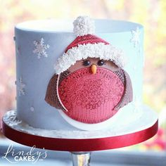 Pleased with this little fellow - robin Christmas cake that I finished off over the weekend at the Cake and Bake show in Manchester. I used a sugar shaper for the fluffy hat trim and pompom and fluid writer for the doodling details. Thank you to everyone
