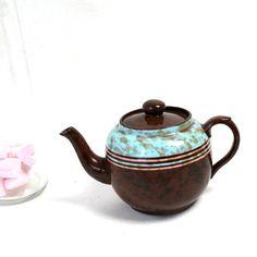 brown turquoise ceramic teapot vintage tea by Sweetlakevintage, $28.00