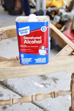 DIY Hack: Using Denatured Alcohol to Strip Wood Stain! Stripping Furniture, Furniture Repair, Paint Furniture, Furniture Projects, Furniture Makeover, Wood Projects, Refinished Furniture, Kitchen Furniture, Chair Repair