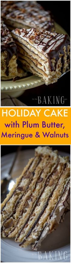 Holiday Cake Recipe - Shortbread Cake layers topped with plum butter, walnuts, meringue, and Custard Buttercream. One of the best European Cakes I know! | by Let the Baking Begin!