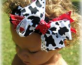 Items similar to Lil' Country Girl Boutique Bow in Cow Print & Red Bandana on Etsy Boutique Bows, Girls Boutique, Girl Hair Bows, Girls Bows, Sweet Cow, Barnyard Party, Girl 2nd Birthday, Red Bandana, Diy Headband