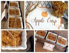 Apple crisps desserts at a Thanksgiving party!  See more party planning ideas at CatchMyParty.com!