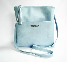 Light Blue Cross Body Purse Blue Vegan Leather Cross Body Bag Shoulder Strap Purse Pale Blue Hip Bag