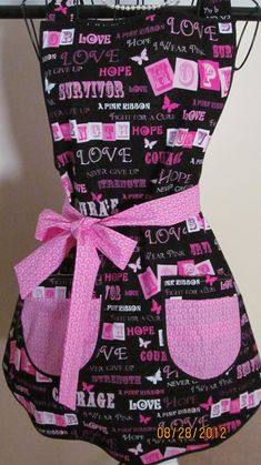 Breast Cancer support apron. #breastcancerawareness #pinkribbon  #HoneyBakedFoilsBreastCancer